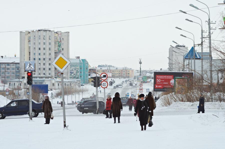 Город Воркута зимой