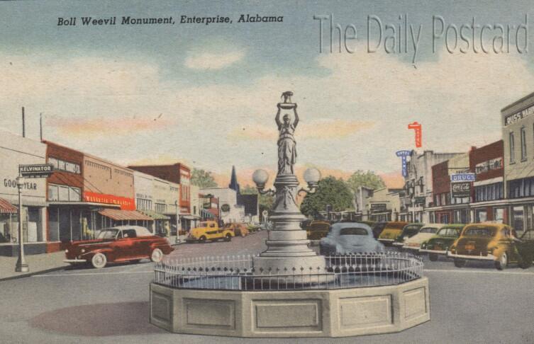 Памятник хлопковому долгоносику. Старая открытка