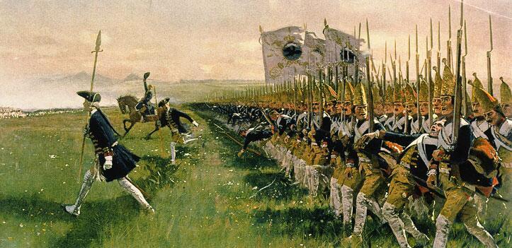 Карл Рёхлинг, «Атака прусской пехоты в 1745 г.», 1913 г.