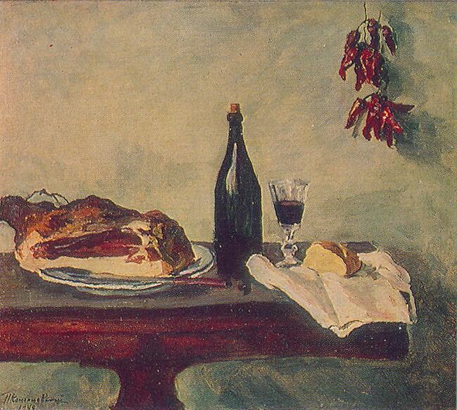 П. П. Кончаловский, «Натюрморт. Хлеб, ветчина и вино», 1948 г.