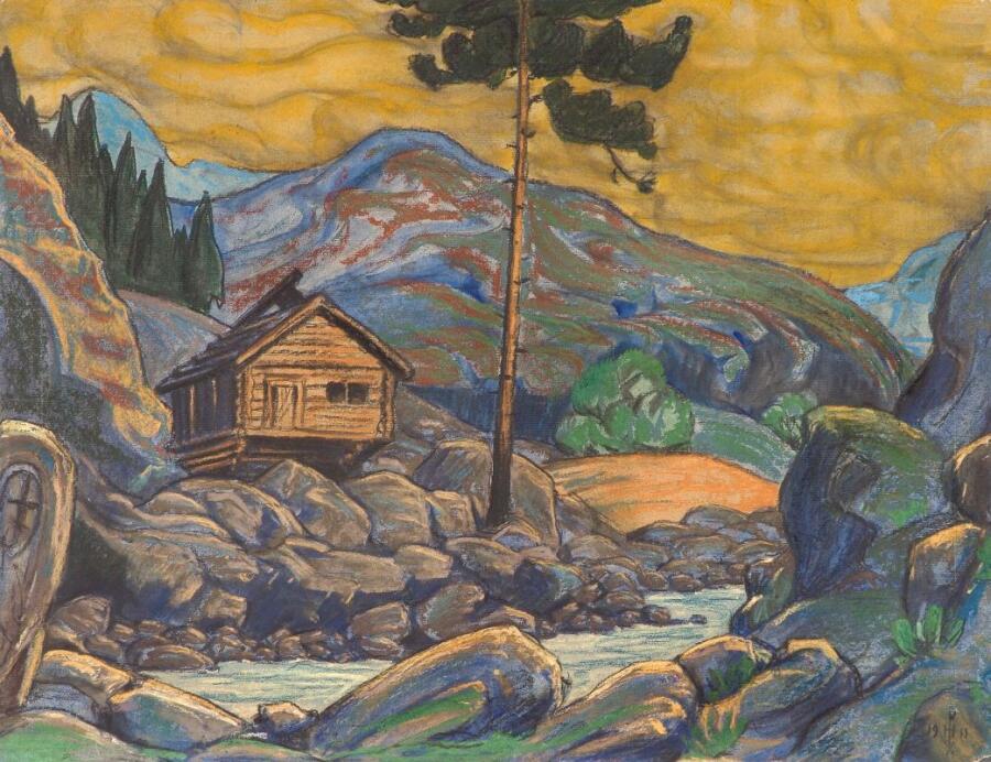 Н. К. Рерих, «Избушка в горах», эскиз к пьесе «Пер Гюнт» Г. Ибсена, 1911 г.