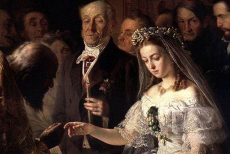 В. В. Пукирев, «Неравный брак», фрагмент, 1862г.