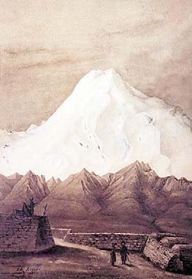 Шарль Ребуль, «Крепость в Пятигорске с видом на Эльбрус», 1894 г.