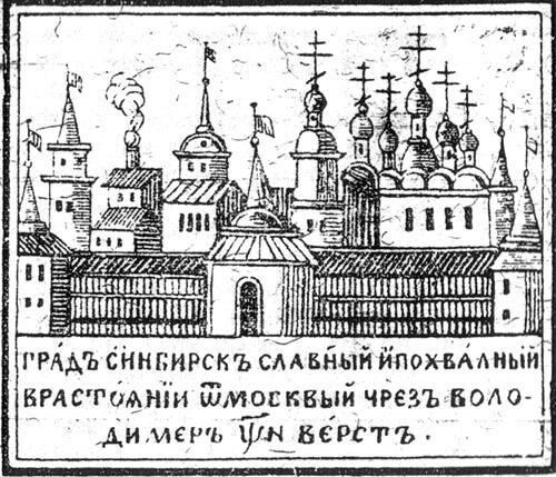 Лубочное изображение Симбирска, XVIII век