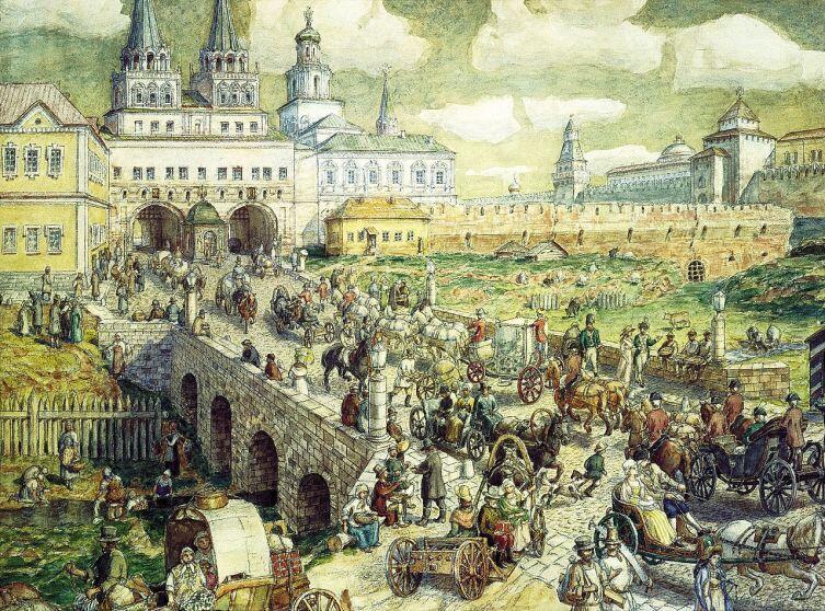 А. М. Васнецов, «Воскресенский мост, Москва, XVIII век», вид на Воскресенские ворота и здание Земского приказа