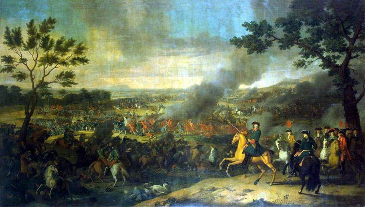 Луи Каравак, «Пётр I в Полтавской битве», 1718 г.