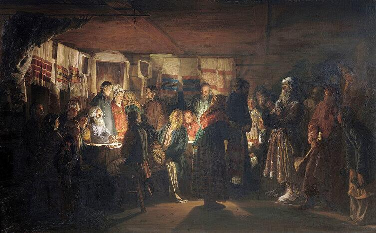 В. М. Максимов, «Приход колдуна на крестьянскую свадьбу», 1875 г.