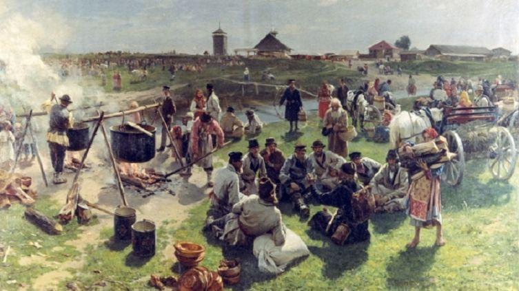 И. М. Прянишников, «Общий жертвенный котёл в престольный праздник», начало 1890-х гг.