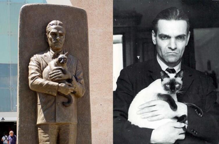 Памятник Кнорозову в Мексике и фотография с любимой кошкой Асей