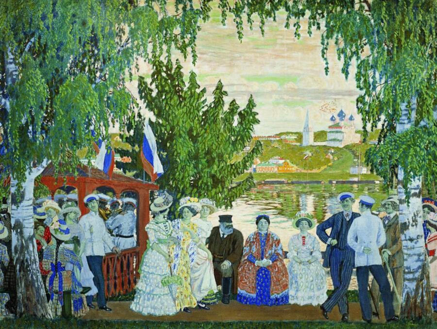 Б. М. Кустодиев,  «Гулянье», 1910 г.