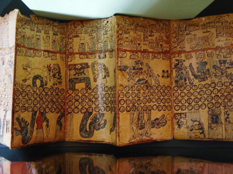 Репродукция Мадридского кодекса, хранящаяся в музее Копана