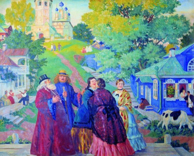 Б. М. Кустодиев, «Встреча. Пасхальный день», 1917 г.