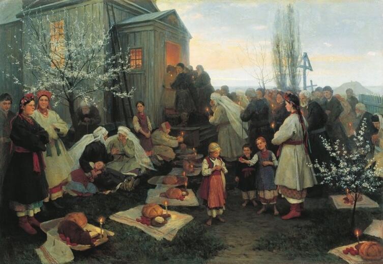 Н. К. Пимоненко, «Пасхальная заутреня в Малороссии», 1891 г.