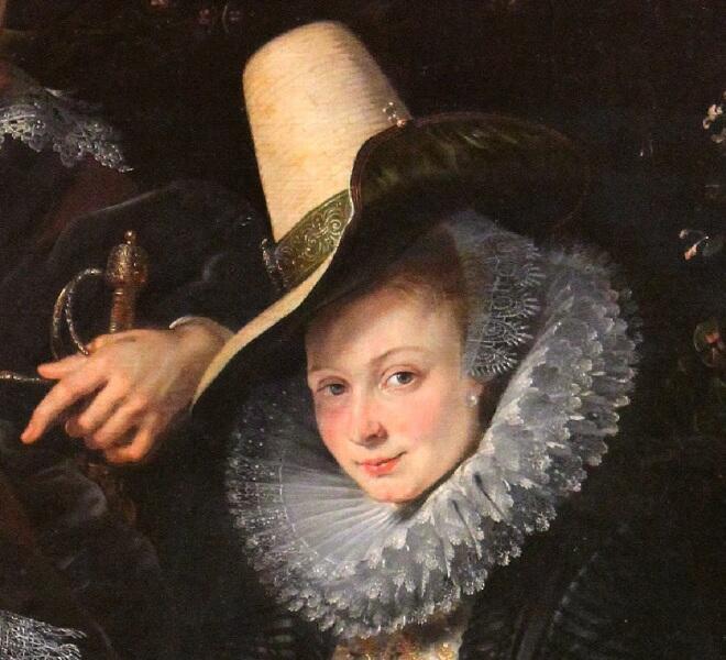 Питер Пауль Рубенс, «Автопортрет с женой Изабеллой Брант на фоне жимолости», фрагмент «Изабелла»