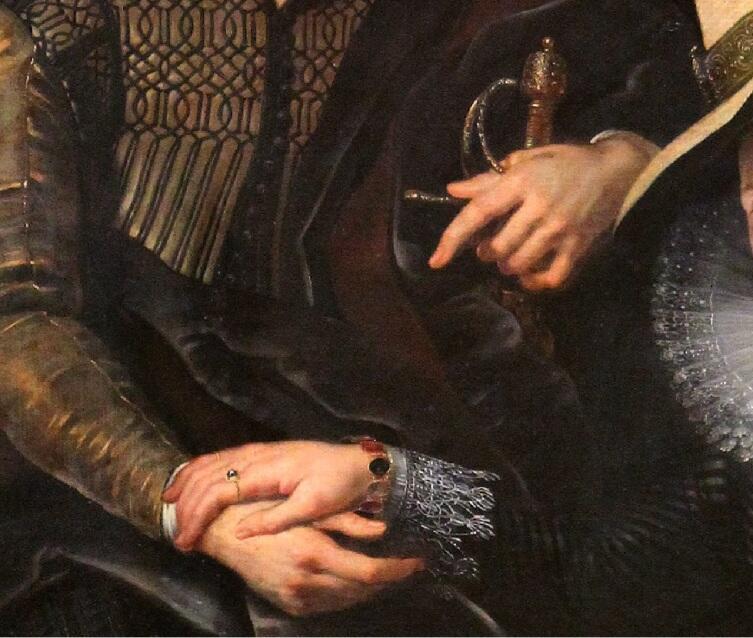 Питер Пауль Рубенс, «Автопортрет с женой Изабеллой Брант на фоне жимолости», фрагмент «Шпага и браслет»