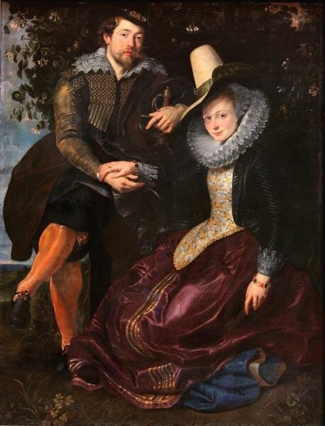Питер Пауль Рубенс, «Автопортрет с женой Изабеллой Брант на фоне жимолости», 1609 г.