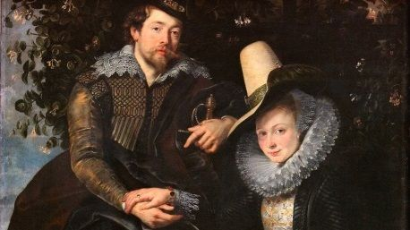 Питер Пауль Рубенс, «Автопортрет с женой Изабеллой Брант на фоне жимолости», фрагмент, 1609 г.