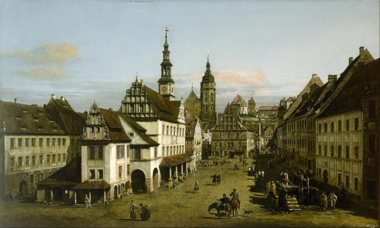 Бернардо Белотто, «Рынок Пирны», 1753 г.