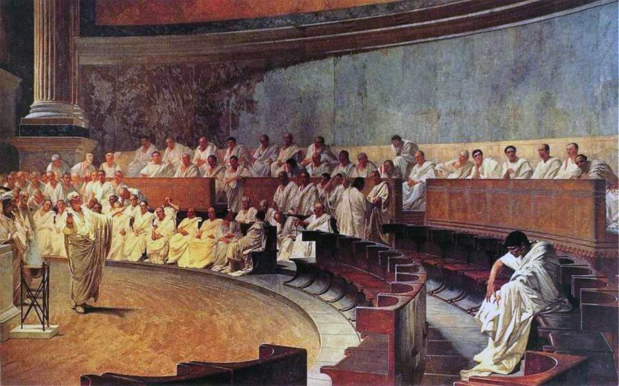 Cesare Maccari, «Цицерон произносит речь против Катилины», 1888 г.