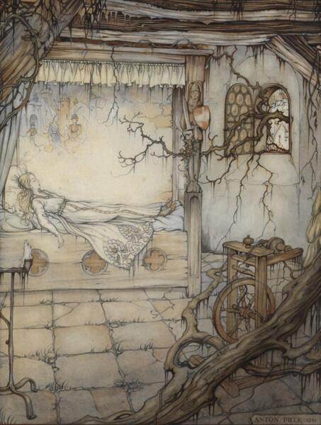 Антон Пик, «Спящая красавица», иллюстрация к сказкам братьев Гримм, 1941 г.