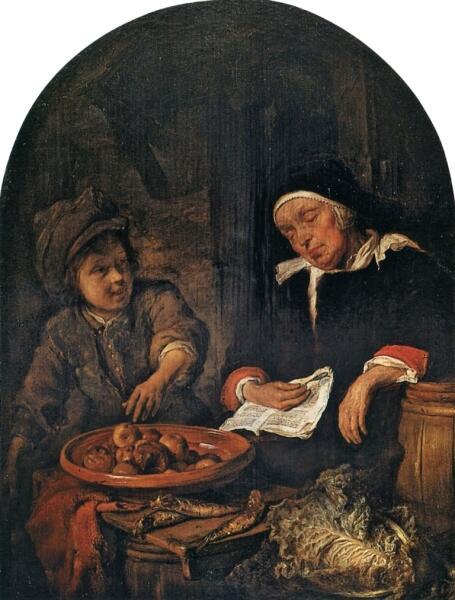 Габриель Метсю, «Мальчик, пытающийся стащить яблоки у спящей торговки», 1663 г.
