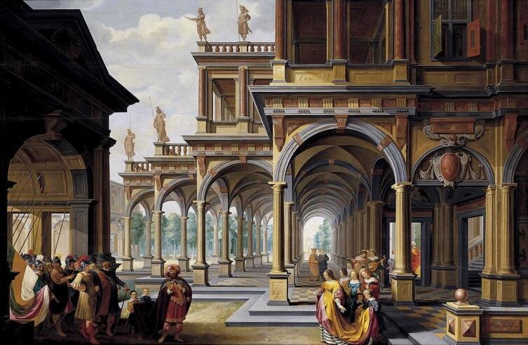 Дирк ван Делен, «Архитектурная фантазия с Иефаем и его дочерью», 1633г. Источник: artchive.ru