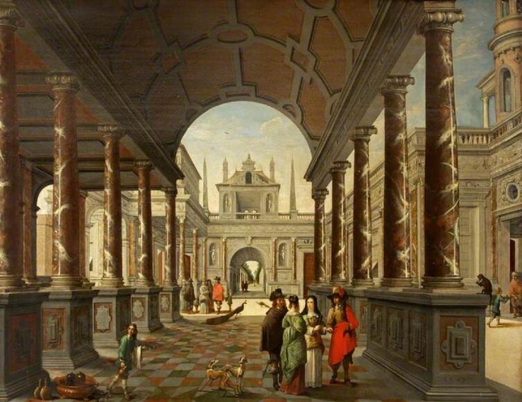 Дирк ван Делен, «Фантазия: вид дворца с элегантными фигурами», 1650г.
