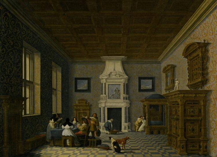Дирк ван Делен, «Кавалеры развлекаются с монашками в роскошном зале дворца», 1619г.