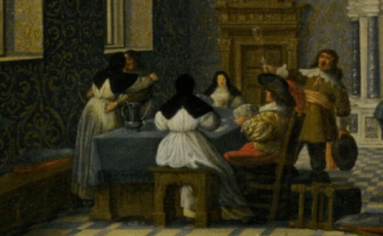 Дирк ван Делен, «Кавалеры развлекаются с монашками в роскошном зале дворца», фрагмент «За столом», 1619 г.