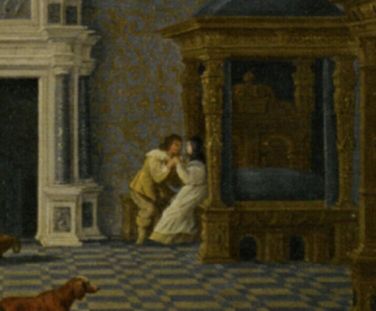 Дирк ван Делен, «Кавалеры развлекаются с монашками в роскошном зале дворца», фрагмент «Возле алькова», 1619 г.