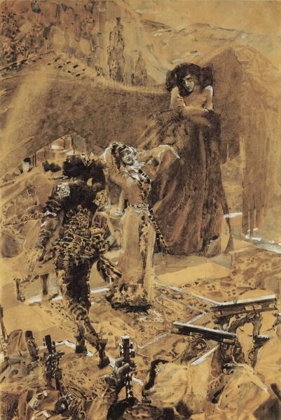 М. А. Врубель, иллюстрация к поэме М. Ю. Лермонтова, 1890 г.