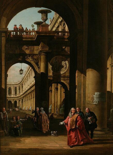 Бернардо Белотто, «Архитектурная фантазия с автопортретом в костюме посла Венеции»