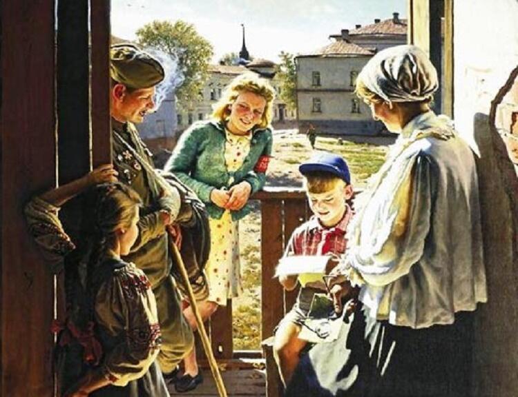 А. И. Лактионов, «Письмо с фронта», фрагмент, 1947 г.