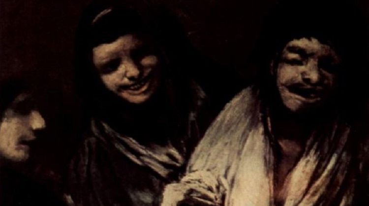 Франсиско Гойя, «Две женщины и мужчина», серия мрачных картин, фрагмент, 1823 г.
