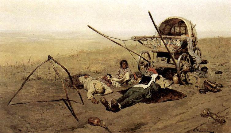 С. В. Иванов,  «В пути. Смерть переселенца», 1889 г.