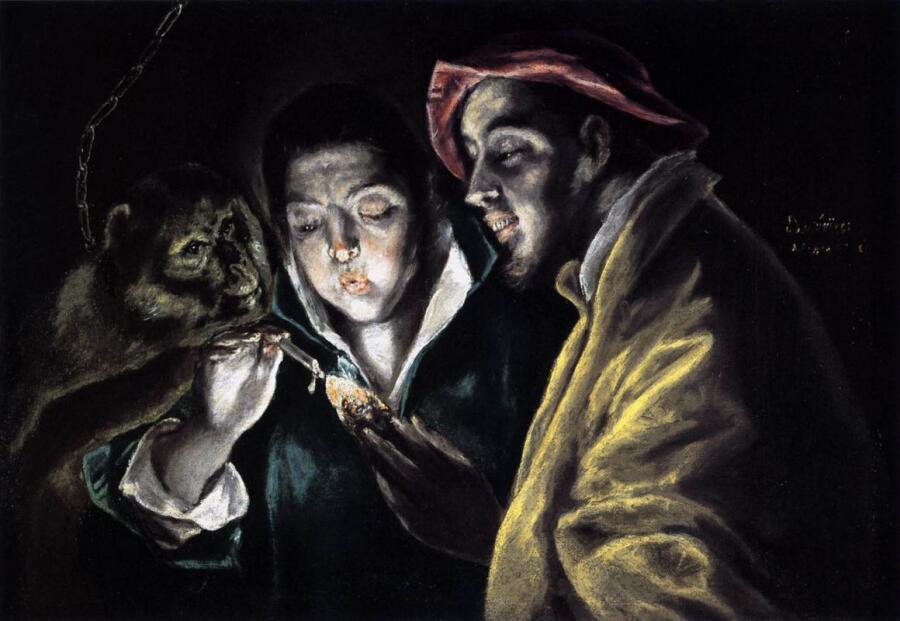 Эль Греко, «Мальчик зажигает свечу в компании обезьяны и дурака», 1590 г.