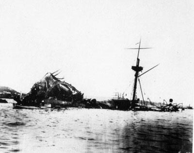 Остов «Мэна» после взрыва, 1898 г.