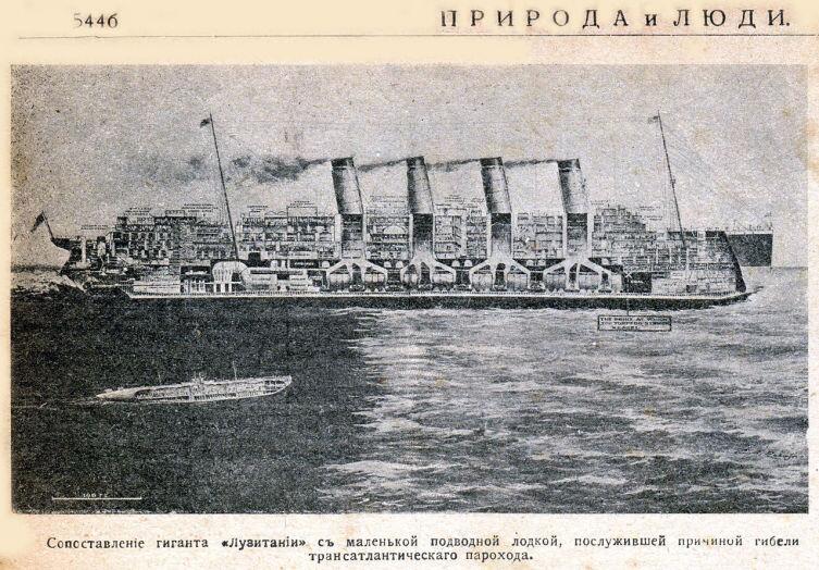 Сравнение «Лузитании» и погубившей её подводной лодки. Рисунок из журнала «Природа и люди», 1915 год