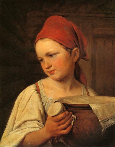 А. Г. Венецианов, «Крестьянка с крынкой молока», 1820 г.