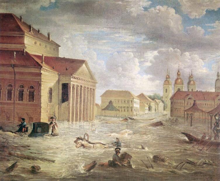 Петербургское наводнение. Площадь у Большого Каменного театра 7 ноября 1824 года