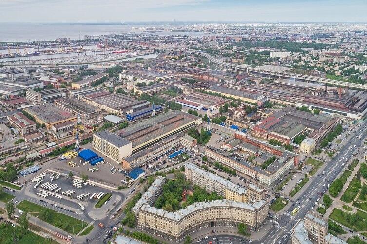 Аэрофотосъёмка Кировского завода в Санкт-Петербурге