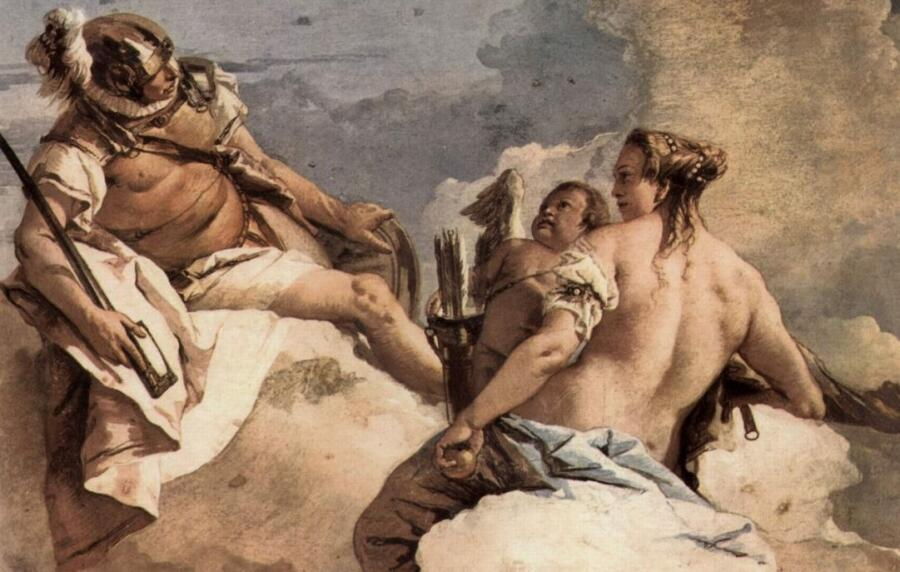 Джованни Баттиста Тьеполо, «Марс, Венера и Амур», фрагмент фрески из виллы Валлмарана,1757 г.