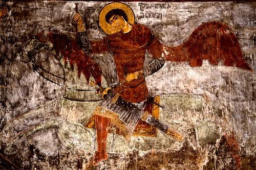 Святой Великомученик Георгий Победоносец. Фреска церкви Спасителя в деревне Мацхвариши, Сванетия, Грузия, 1142 год. Иконописец Микаэл Маглакелидзе