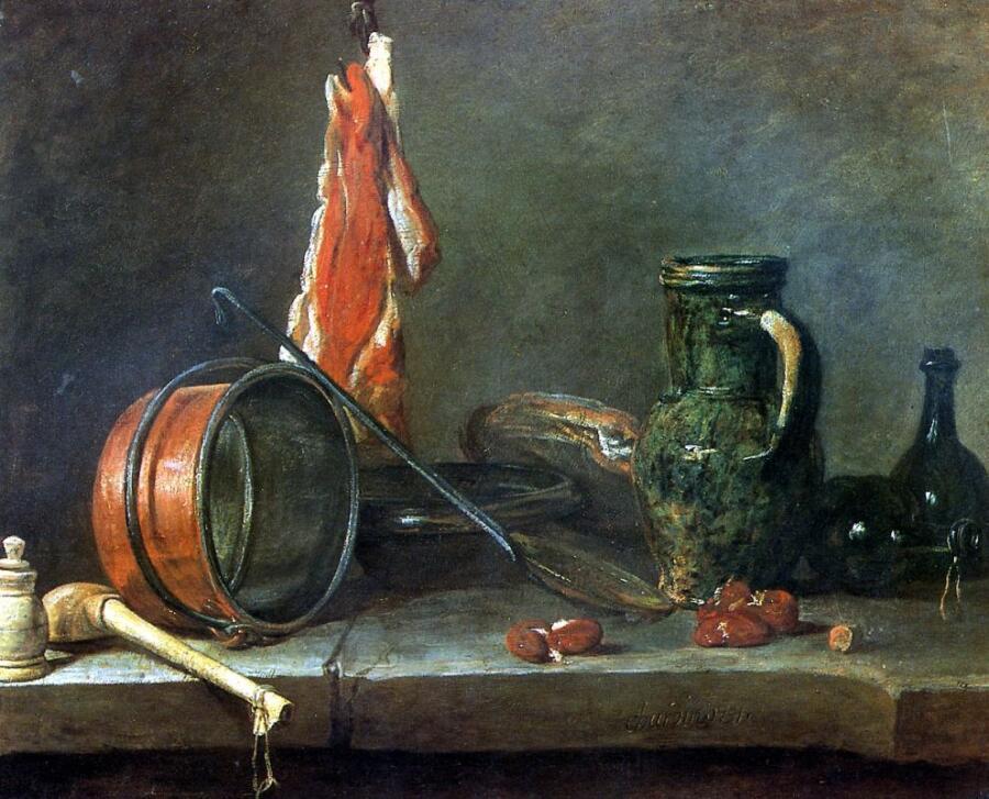 Жан Батист Симеон Шарден, «Скудная диета», натюрморт с мясом и кухонной посудой, 1731 г.