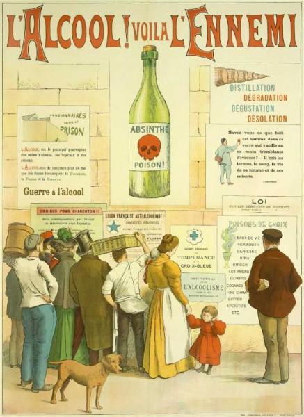 Плакат, «Абсент — яд», 1910 г.