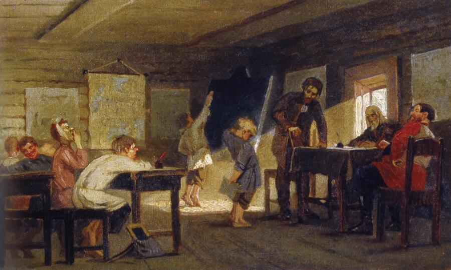 М. В. Нестеров, «Экзамен в сельской школе», 1884 г.