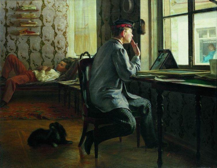 И. Е. Репин, «Приготовление к экзамену», 1864 г.