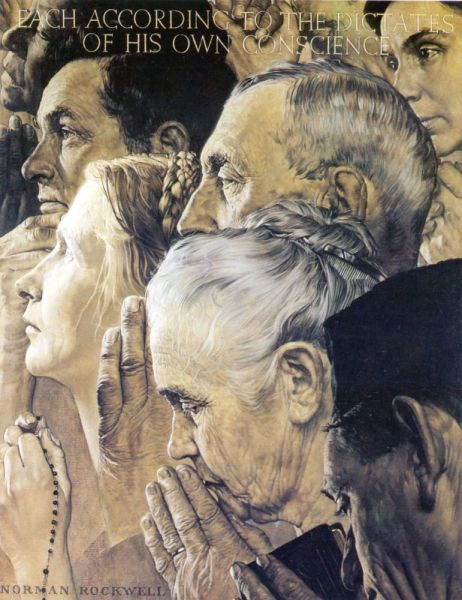 Норман Роквелл, «Четыре свободы. Свобода вероисповедания», 1943 г.