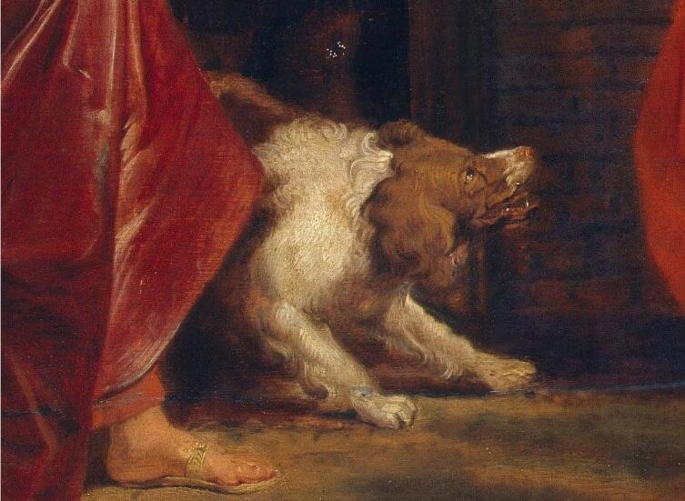 Рубенс, Агарь изгоняют из дома Аврама, фрагмент «Пес»