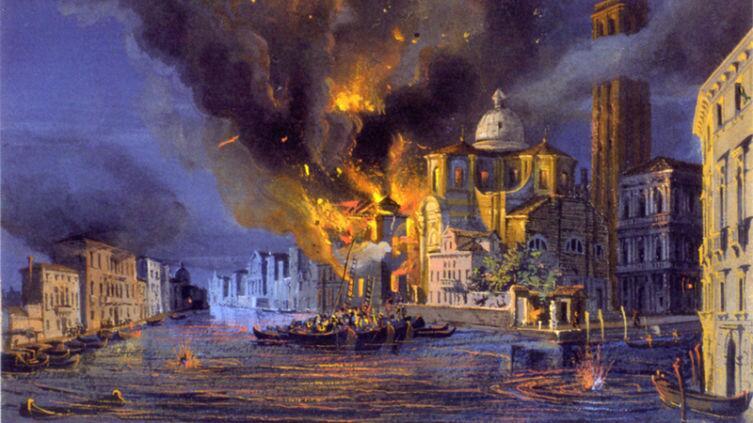 Luigi Querena, «Церковь Сан-Джеремии в Венеции, пораженная австрийской бомбардировкой 1849 года», ок. 1850 г.